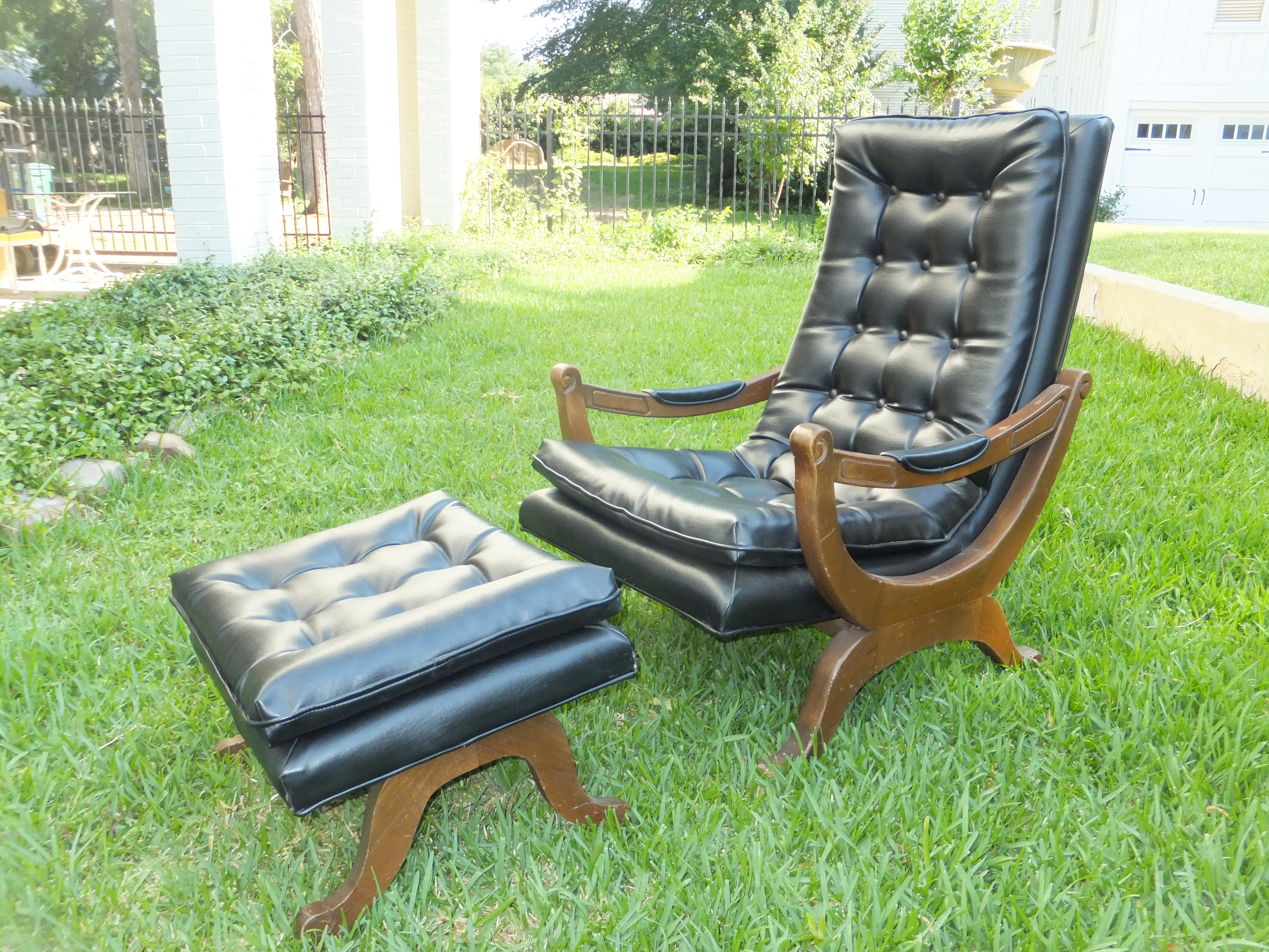 Vintage Leather Chair and Ottoman Loungs Set $695