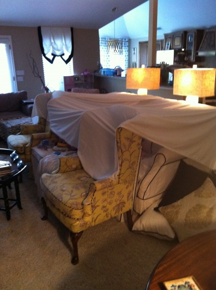 How I really live. That would be a fort. Due to laziness, that fort took up my living room for much longer than originally anticipated.